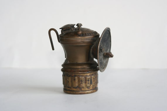 Antique Auto Lite Miner's Cap/Helmet Brass Carbide Lamp