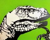 "Pastel green ""Philosoraptor"" meme stencil art painting, spray painted on 18 x 24 inch gallery canvas"