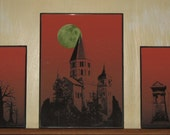 RESERVE LISTING for Mothershiporphan   TWO  3 piece Halloween Wall or Shelf Displays