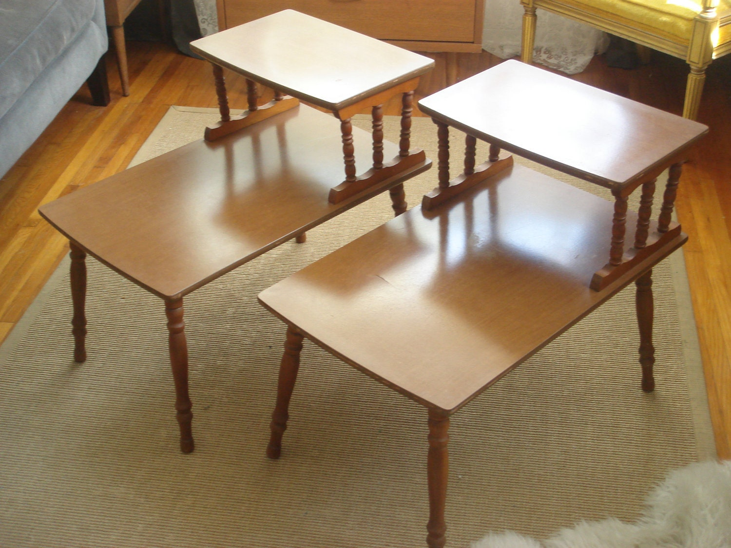 vintage two tiered mid century side end tables. Black Bedroom Furniture Sets. Home Design Ideas