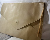 Envelope Clutch with Chain: Beige, with 22k Gold Plated Chain