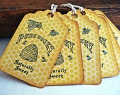 Pure Honey - Naturally Sweet - Bee - Vintage Inspired - Gift Tags - Set of 6
