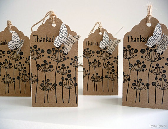 Botanical - Nature - Kraft - Mixed Media - Butterfly - Thanks - Gift Tag - Set of 4