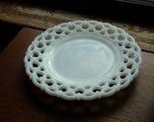 """One 8 1/2"""" Luncheon Plate in the Forget Me Not Milk Glass Pattern on Lattice Border by Westmoreland Crystal"""