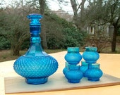 Regal Blue or Turquoise Diamond Point Glass Decanter Set