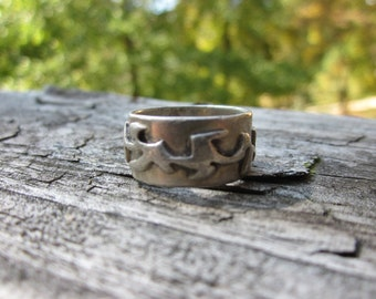 Chunky Abstract Sterling Silver Ring Size 6 Free Shipping