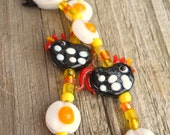 Chicken and Egg Glass Bead Bracelet