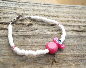 LAMPWORK GLASS Pink Bunny PEEP Bracelet