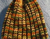 knit fall colors hat beanie cap hood green white brown orange