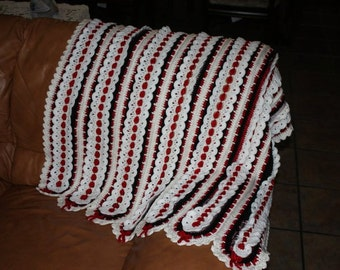 Crocheted red, white, and black (your color choice), lacy lapghan, afghan, baby blanket