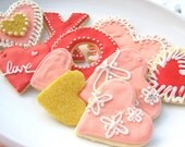 Sugar Cookies Valentine Cookie Assortment Decorated Cookie Hearts Hugs Kisses iced Cookies
