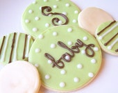 Sugar Cookies Iced Custom Baby Shower Cookie Favor
