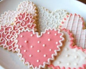Heart Sugar Cookies Heart Shabby Chic Valentine Wedding Favor Pink Gray White Shower Favor Iced Decorated Cookie