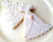 Sugar Cookie Wedding Cookies Dress & Cake Favor White Wedding Gown Shower Favor Gift
