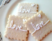 Wedding Cookies Love Sparkling Sugar Cookies Iced Shower Cookies Personalized Dessert Table Cookies Pastries