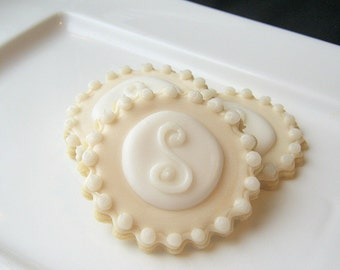 Wedding Cookie Favor Pearlized Monogram Sugar Cookies All Natural Home Baked
