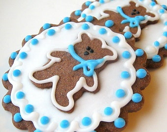 Teddy Bear Cookies Chocolate Sugar Cookies Shower Birthday 12 Count All Natural