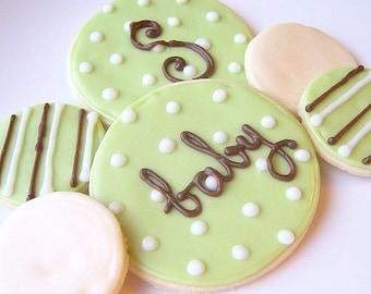 Sugar Cookies Iced Custom Baby Shower Cookie Favor
