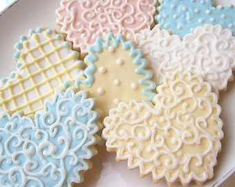 Wedding Favor Heart Sugar Cookie Hearts Iced Decorated Cookies Pink Blue Ivory Shower Favor Shabby Chic Wedding