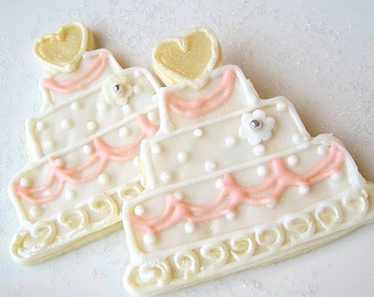 Wedding Cookie Favor Wedding Cake Iced Decorated Sugar Cookies Shower Favor