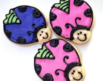 Lady Bug Cookie Pink Iced Sugar Cookie Cut Outs Purple Ladybug Decorated Cookie