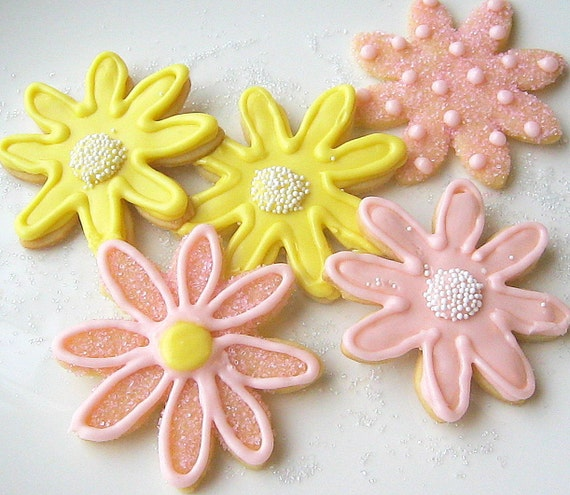 Iced Flower Sugar Cookies Pastel Daisy Decorated Sugar Cookies Mothers Day Cookie Gift