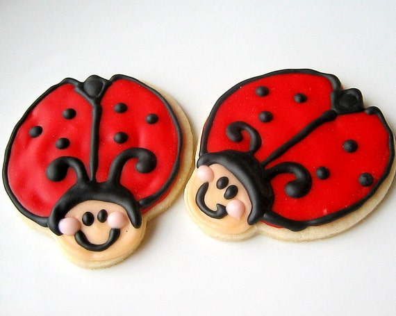 Lady Bug Iced Sugar Cookie Cut Outs Decorated Cookies Red Ladybug Party
