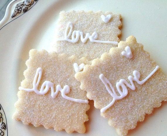 Love Sparkling Sugar Cookies Wedding Favor Iced Wedding Cookies Personalized Dessert Table Cookies Pastries