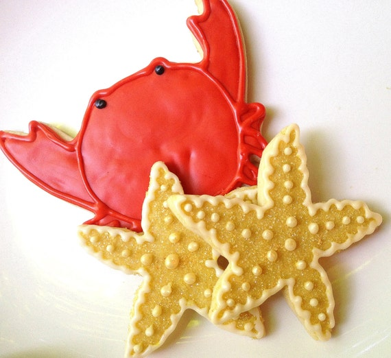Starfish Sugar Cookie Crab Iced Sugar Cookie Orange Gold Beach Theme Decorated Cookie Party Favor