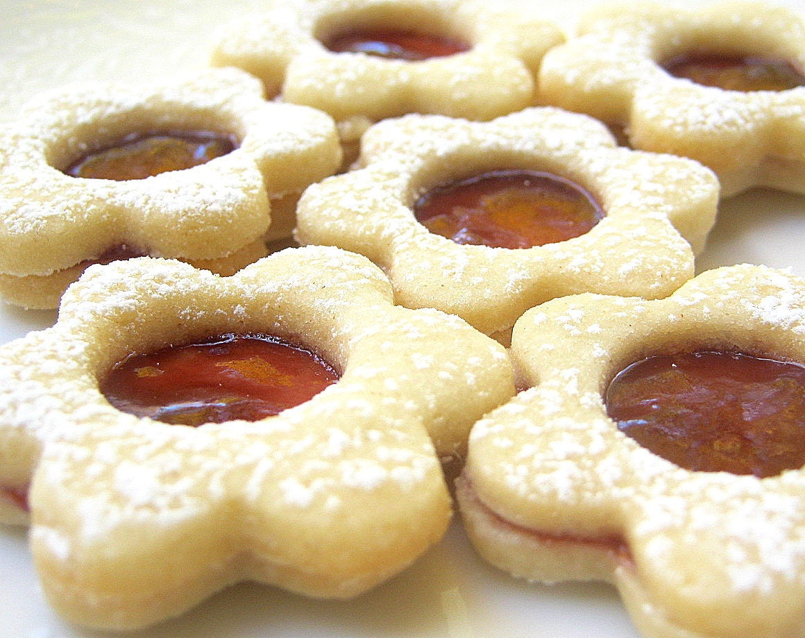 Raspberry Linzer Cookies Jam Filled Flower by ...