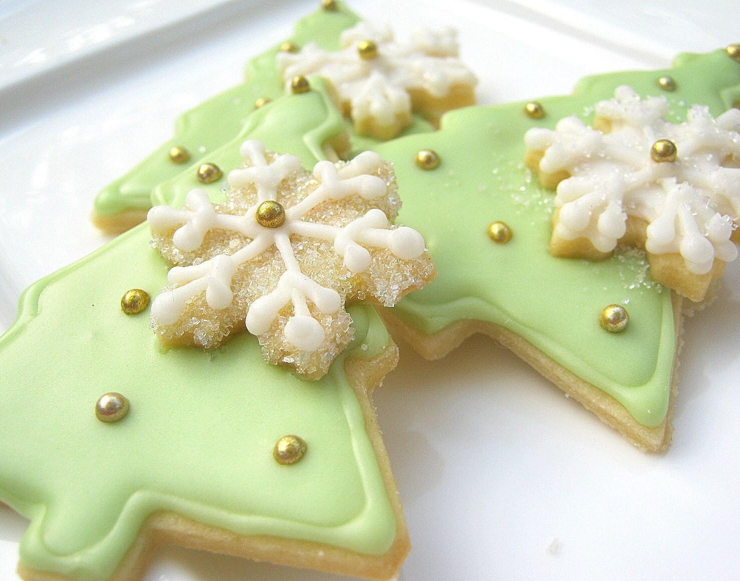 Christmas Tree Sugar Cookies Iced Decorated by SugarMeDesserterie