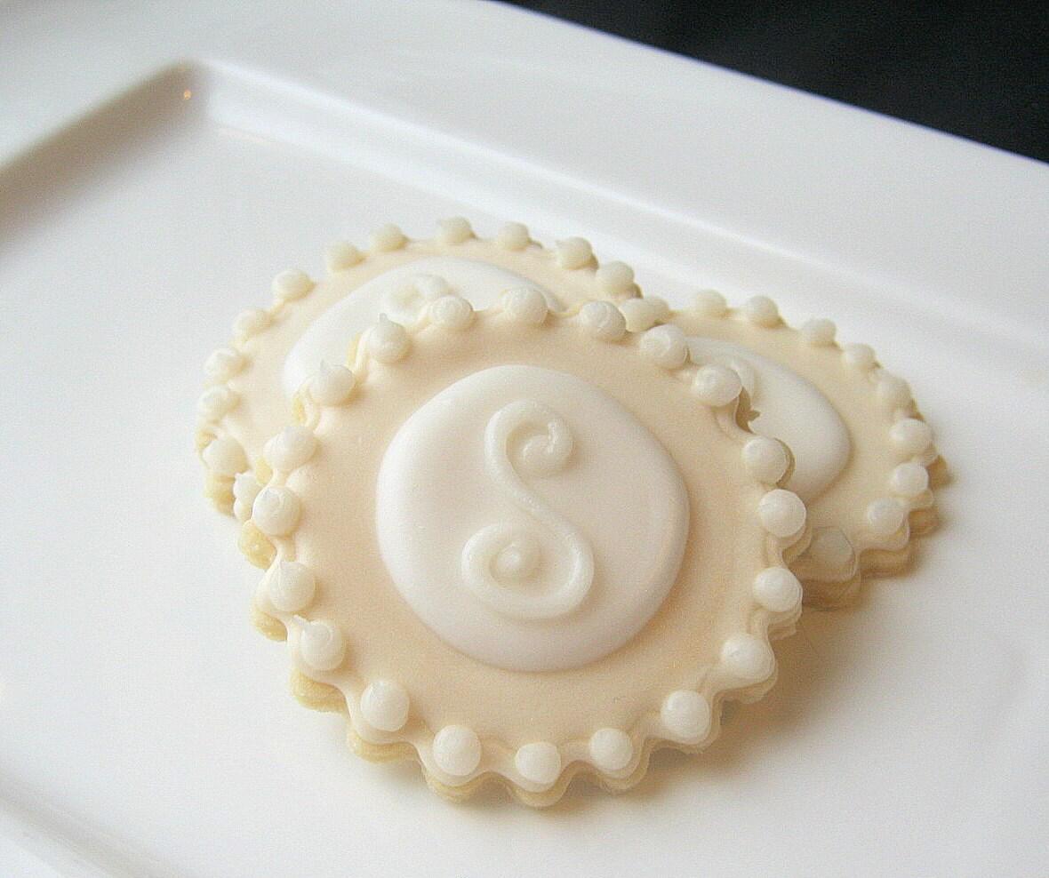 Iced Sugar Cookies Monogram Wedding Favor By SugarMeDesserterie