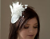 Bridal hat - dotted with white feather mount
