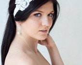 Bridal lace headband with elastic ribbon at the back - white color