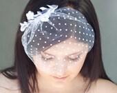 Bridal polka dot birdcage veil - tulle veil with white floral lace, bridal veil, birdcage veil, white veil, lace veil