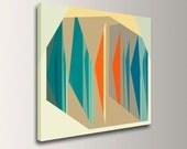 "Mid Century Modern Canvas, Teal & Orange Art, Canvas Print - Geometric Art, Abstract Wall Decor,  ""Multiplex"""
