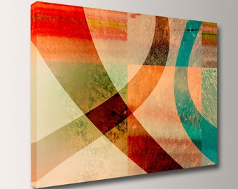 "Canvas Print - Unique Wall Decor - Digital Art - Teal and Red Artwork - ""Interchange"""