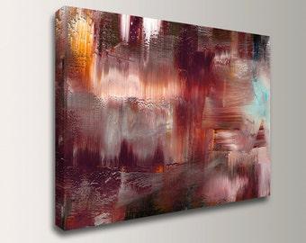 "Abstract Painting - Canvas Print - Modern Wall Decor - Burgandy, Mauve Wall Art - "" Elation """