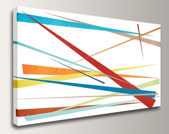 "Panoramic Art - Modern Canvas Art - Colorful Wall Decor - Abstract Canvas Art - "" Slivers """