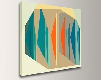 "Mid Century, Modern Art, Canvas Print - Geometric Art, Wall Art, Teal & Coral - ""Multiplex"""