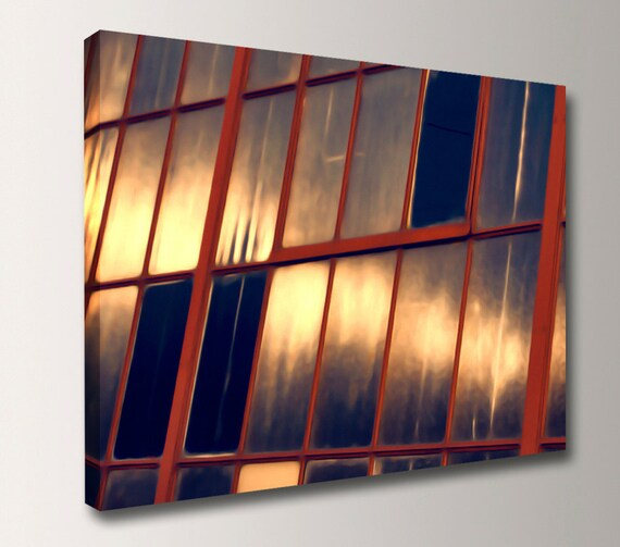 """Urban Photography - Canvas Print - Modern Art - Red and Navy with Gold Reflections """" Radiant"""""""