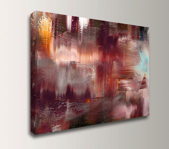 "Abstract Painting - Canvas Print - Modern Wall Decor - Burgandy, Mauve Wall Art - "" Elation """