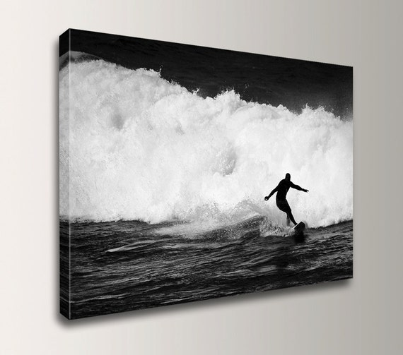"Surfing Photography - Black and White Photography on Canvas - Surf Decor - ""Break Away"""