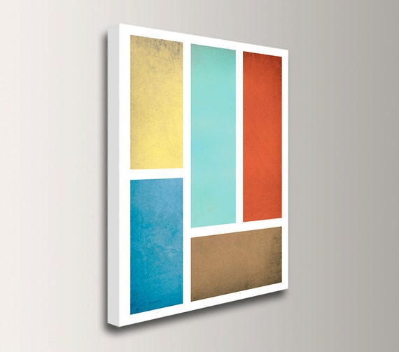 "Art Print on Canvas - Mid Century Modern - Gallery Wrapped Canvas Print - Blue Red Aqua & Yellow - ""Connection"""