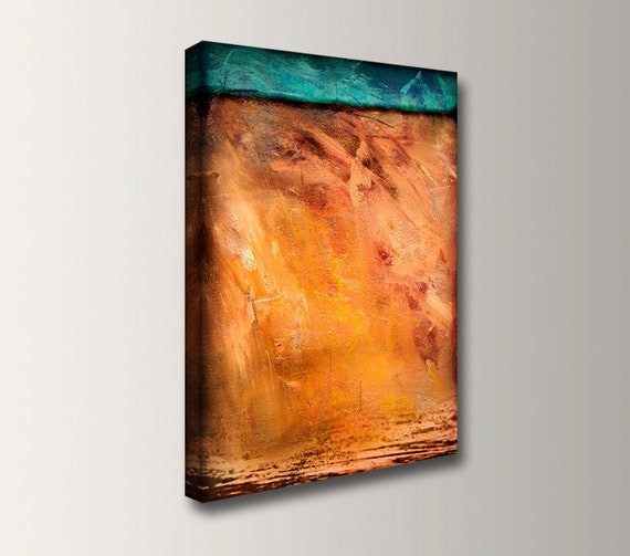 """Abstract Painting Canvas Print - Orange and Turquoise Art - Modern Decor - """"Toast"""""""