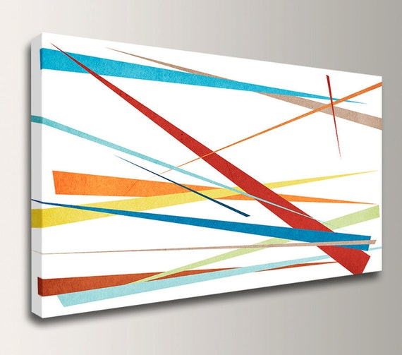 """Panoramic Art - Modern Canvas Art - Colorful Wall Decor - Abstract Canvas Art - """" Slivers """""""