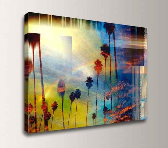 "Coastal Wall Art, Palm Trees, California Beach Decor - Yellow and Blue, Mixed Media Canvas Art - "" Palm City """