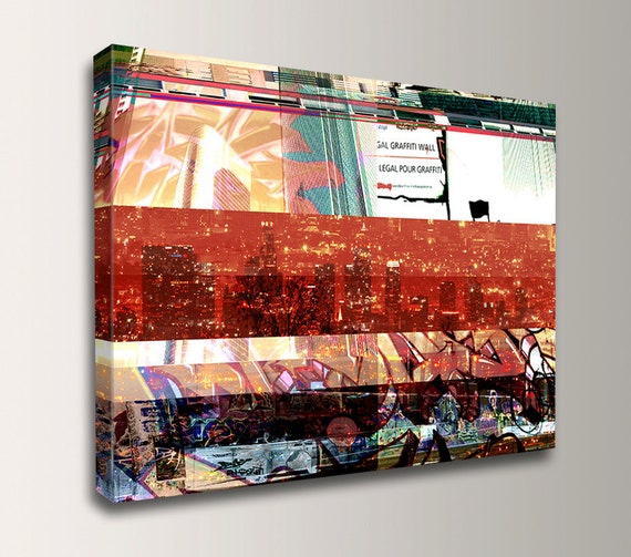 "Urban Art - Graffiti - LA Skyline - Street Art - Canvas Print - Modern Wall Decor - ""L.A. Vision"""