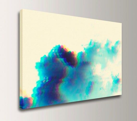 """Cloud Photography - Pop Art - Canvas Print - Funky Modern Wall Art - Teal, Blue - """"Puff"""""""