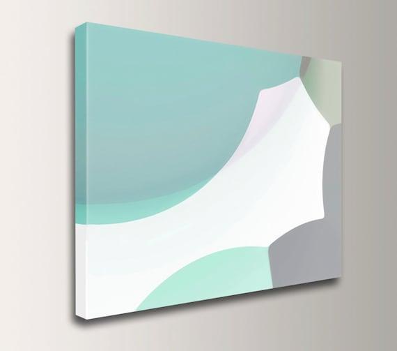 "Digital Print - Abstract Canvas Print - Mint and Grey - Modern Wall Decor - ""Andromeda"""